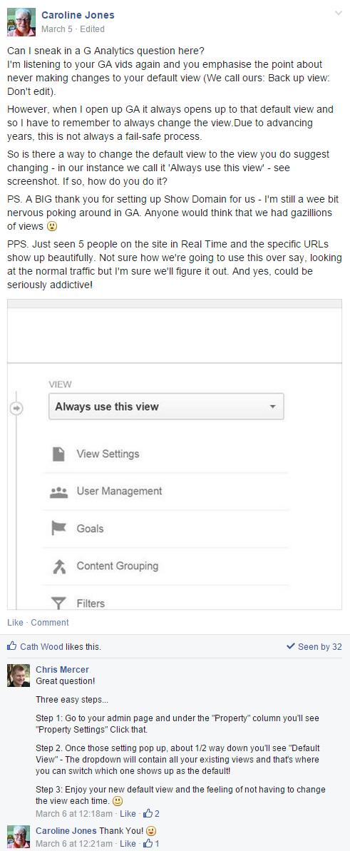 Google Analytics Facebook Group