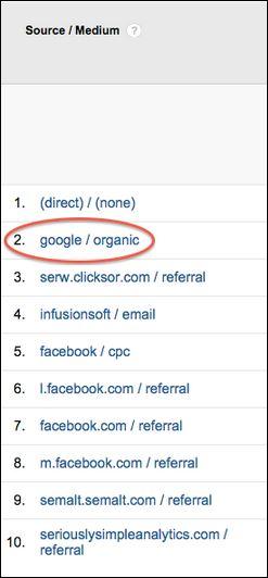 Google Analytics - google.organic